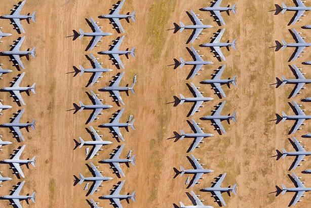 Mothballed planes at an aircraft boneyard in Arizona.
